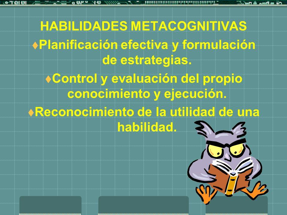HABILIDADES METACOGNITIVAS Planificación efectiva y formulación de estrategias. Control y evaluación del propio conocimiento y ejecución. Reconocimien