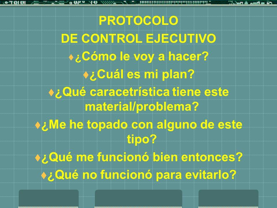 PROTOCOLO DE CONTROL EJECUTIVO ¿ Cómo le voy a hacer? ¿Cuál es mi plan? ¿Qué caracetrística tiene este material/problema? ¿Me he topado con alguno de