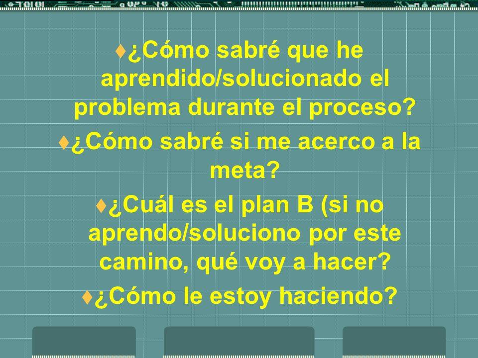 ¿Cómo sabré que he aprendido/solucionado el problema durante el proceso? ¿Cómo sabré si me acerco a la meta? ¿Cuál es el plan B (si no aprendo/solucio