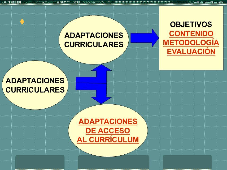 ADAPTACIONES CURRICULARES ADAPTACIONES CURRICULARES ADAPTACIONES DE ACCESO AL CURRÍCULUM OBJETIVOS CONTENIDO METODOLOGÍA EVALUACIÓN