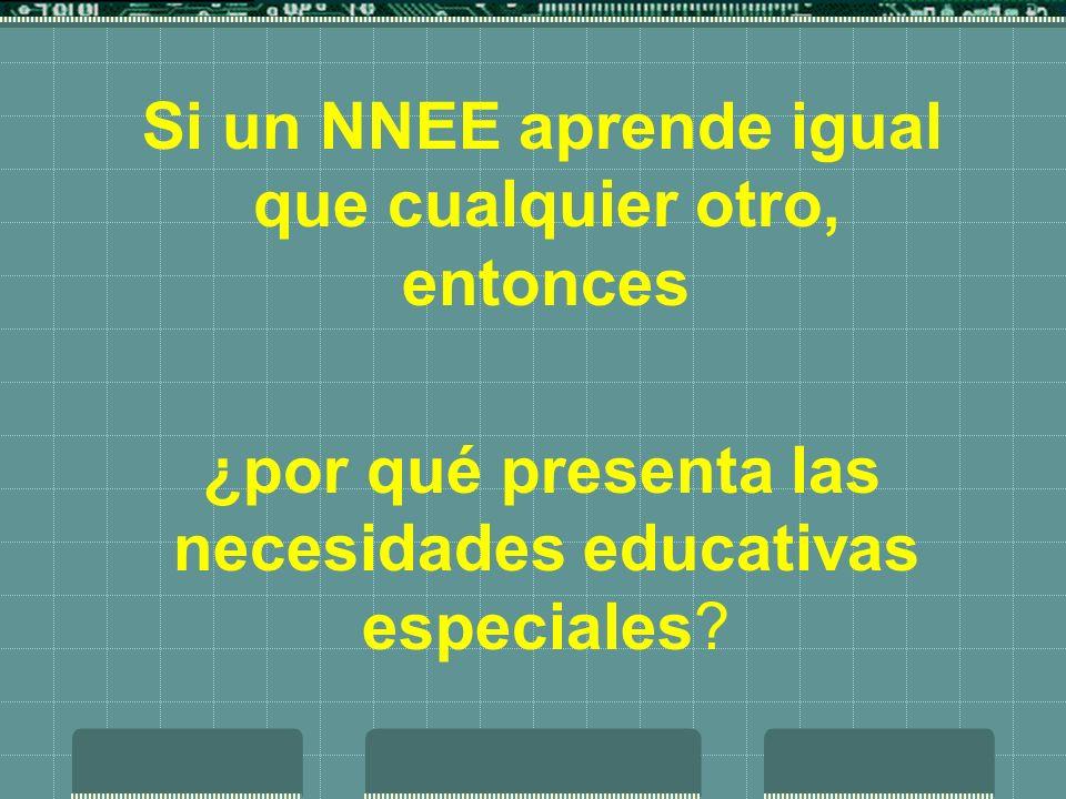 Si un NNEE aprende igual que cualquier otro, entonces ¿por qué presenta las necesidades educativas especiales?