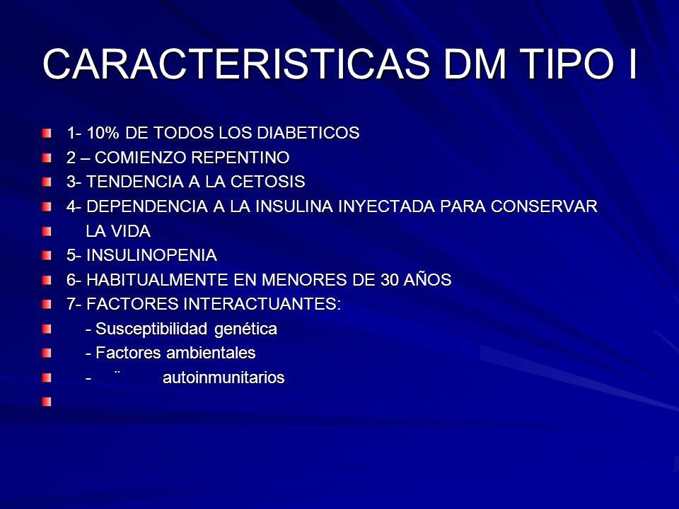CARACTERISTICAS DM TIPO I 1- 10% DE TODOS LOS DIABETICOS 2 – COMIENZO REPENTINO 3- TENDENCIA A LA CETOSIS 4- DEPENDENCIA A LA INSULINA INYECTADA PARA CONSERVAR LA VIDA LA VIDA 5- INSULINOPENIA 6- HABITUALMENTE EN MENORES DE 30 AÑOS 7- FACTORES INTERACTUANTES: - Susceptibilidad genética - Susceptibilidad genética - Factores ambientales - Factores ambientales - ¨ autoinmunitarios - ¨ autoinmunitarios