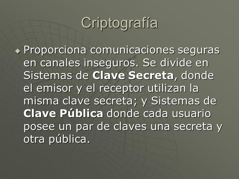 Criptografía Proporciona comunicaciones seguras en canales inseguros.