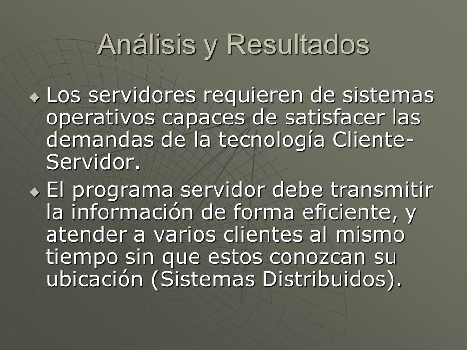 Análisis y Resultados Los servidores requieren de sistemas operativos capaces de satisfacer las demandas de la tecnología Cliente- Servidor.