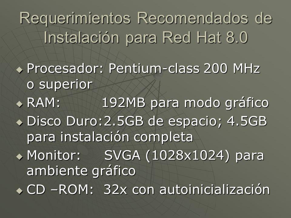 Requerimientos Recomendados de Instalación para Red Hat 8.0 Procesador: Pentium-class 200 MHz o superior Procesador: Pentium-class 200 MHz o superior RAM: 192MB para modo gráfico RAM: 192MB para modo gráfico Disco Duro:2.5GB de espacio; 4.5GB para instalación completa Disco Duro:2.5GB de espacio; 4.5GB para instalación completa Monitor: SVGA (1028x1024) para ambiente gráfico Monitor: SVGA (1028x1024) para ambiente gráfico CD –ROM: 32x con autoinicialización CD –ROM: 32x con autoinicialización