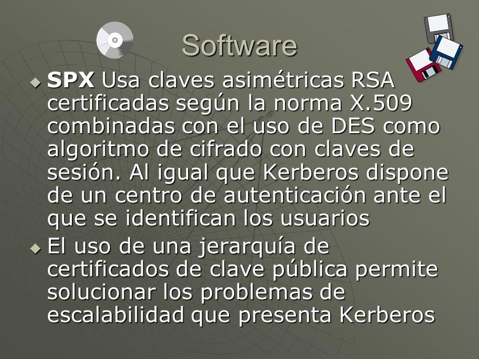 Software SPX Usa claves asimétricas RSA certificadas según la norma X.509 combinadas con el uso de DES como algoritmo de cifrado con claves de sesión.