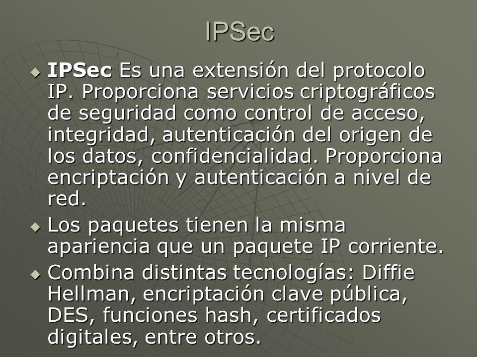 IPSec Es una extensión del protocolo IP.