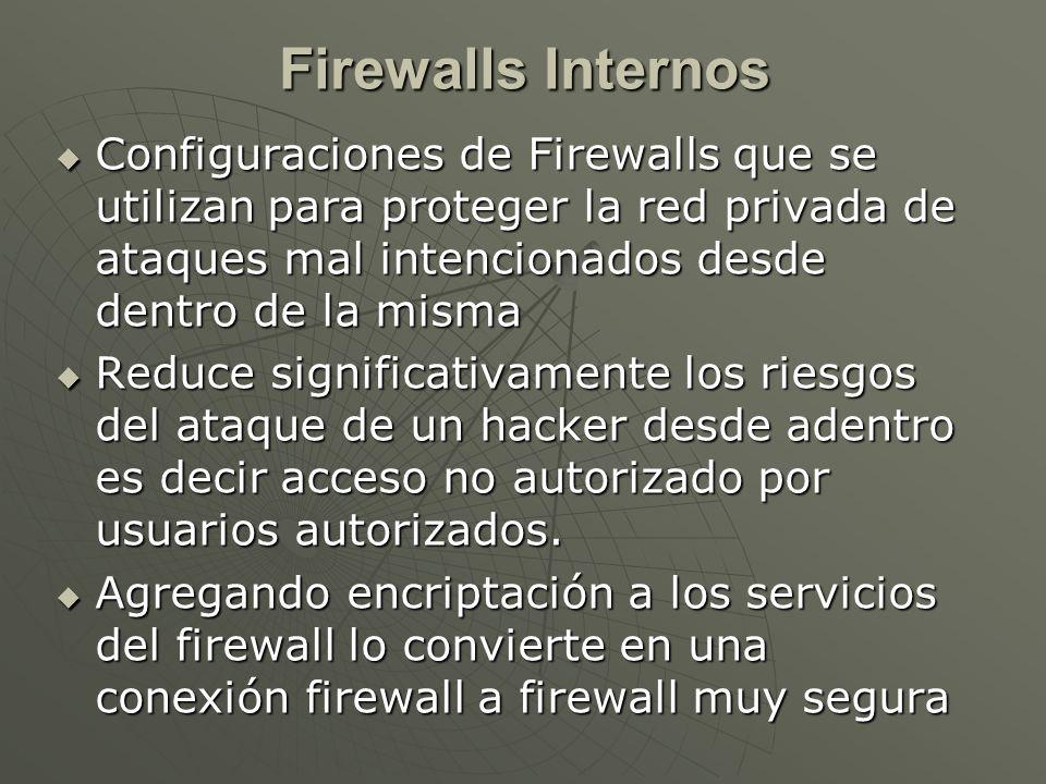 Configuraciones de Firewalls que se utilizan para proteger la red privada de ataques mal intencionados desde dentro de la misma Configuraciones de Firewalls que se utilizan para proteger la red privada de ataques mal intencionados desde dentro de la misma Reduce significativamente los riesgos del ataque de un hacker desde adentro es decir acceso no autorizado por usuarios autorizados.