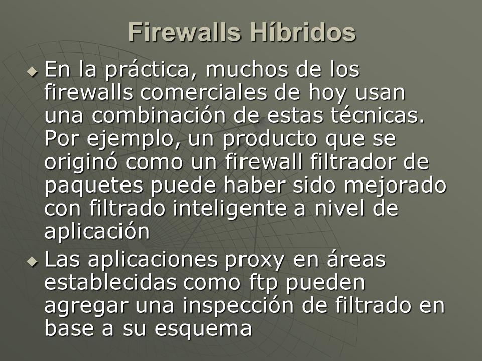 En la práctica, muchos de los firewalls comerciales de hoy usan una combinación de estas técnicas.