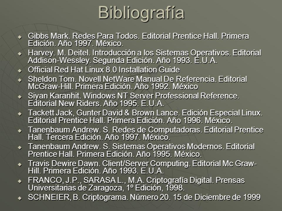 Bibliografía Gibbs Mark. Redes Para Todos. Editorial Prentice Hall.