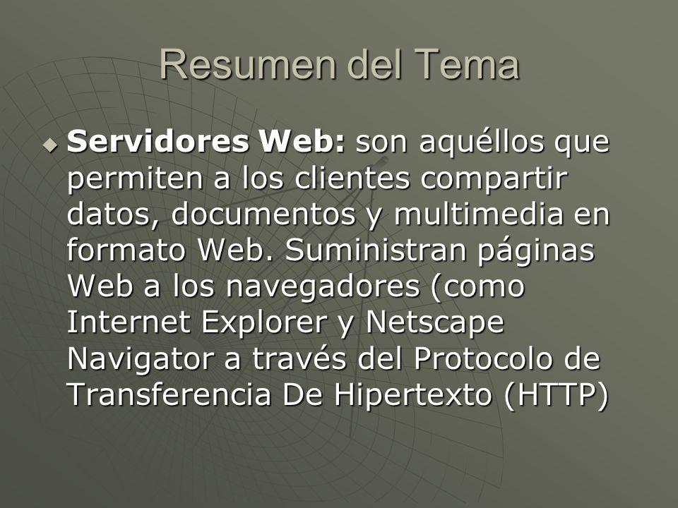 Resumen del Tema Servidores Web: son aquéllos que permiten a los clientes compartir datos, documentos y multimedia en formato Web.