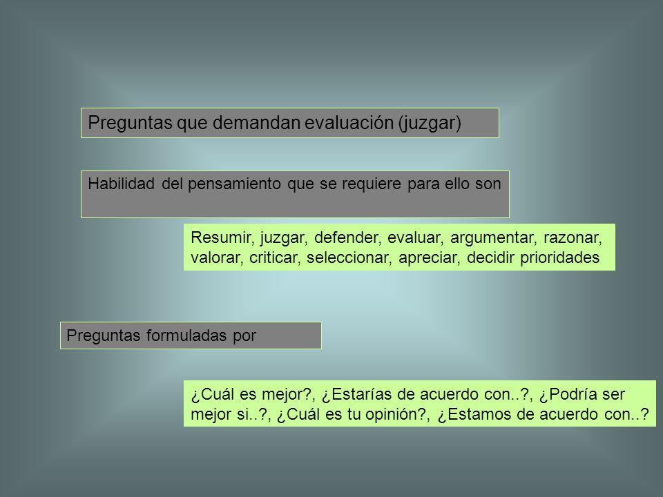 Preguntas que demandan evaluación (juzgar) Habilidad del pensamiento que se requiere para ello son Resumir, juzgar, defender, evaluar, argumentar, raz