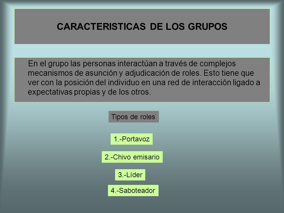 CARACTERISTICAS DE LOS GRUPOS En el grupo las personas interactúan a través de complejos mecanismos de asunción y adjudicación de roles. Esto tiene qu