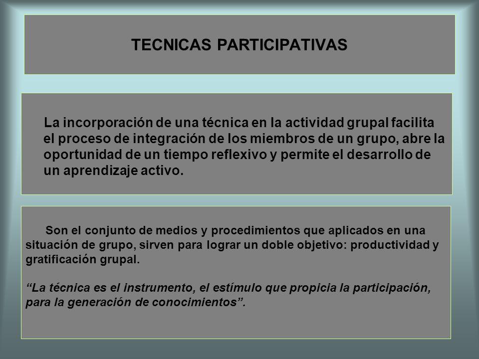 TECNICAS PARTICIPATIVAS La incorporación de una técnica en la actividad grupal facilita el proceso de integración de los miembros de un grupo, abre la
