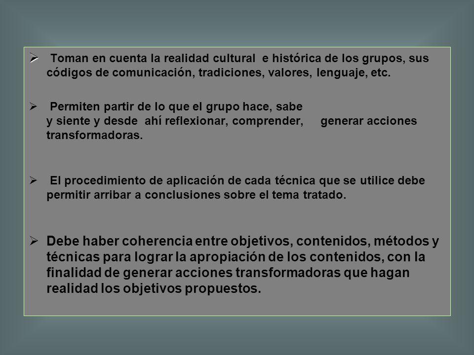 Toman en cuenta la realidad cultural e histórica de los grupos, sus códigos de comunicación, tradiciones, valores, lenguaje, etc. Permiten partir de l