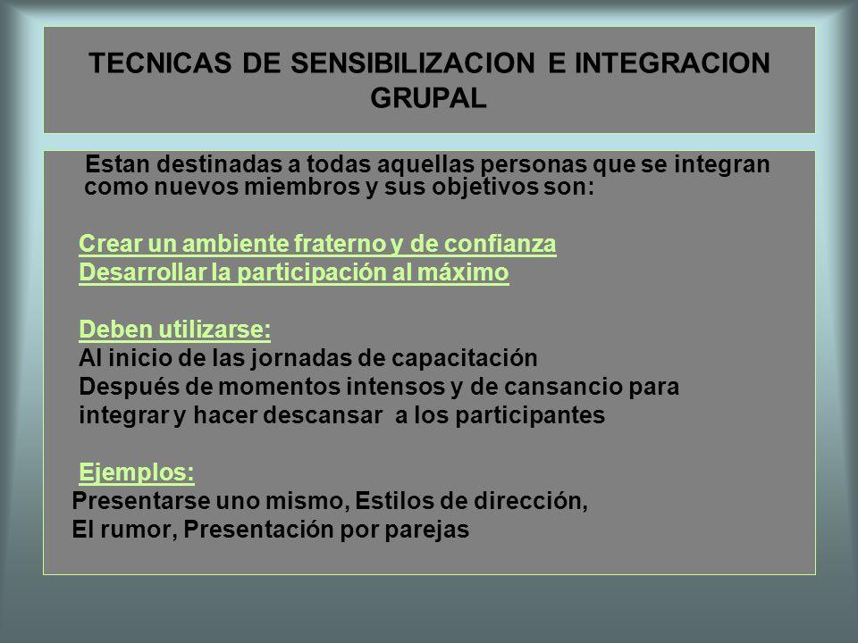 TECNICAS DE SENSIBILIZACION E INTEGRACION GRUPAL Estan destinadas a todas aquellas personas que se integran como nuevos miembros y sus objetivos son: