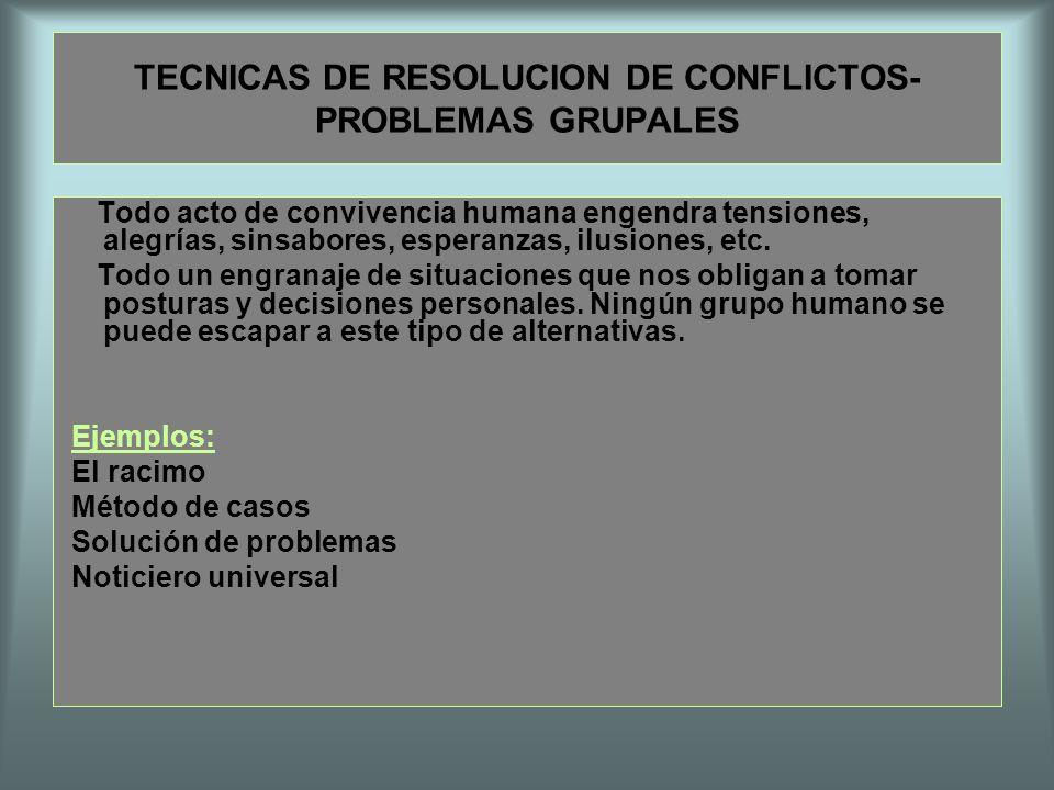 TECNICAS DE RESOLUCION DE CONFLICTOS- PROBLEMAS GRUPALES Todo acto de convivencia humana engendra tensiones, alegrías, sinsabores, esperanzas, ilusion