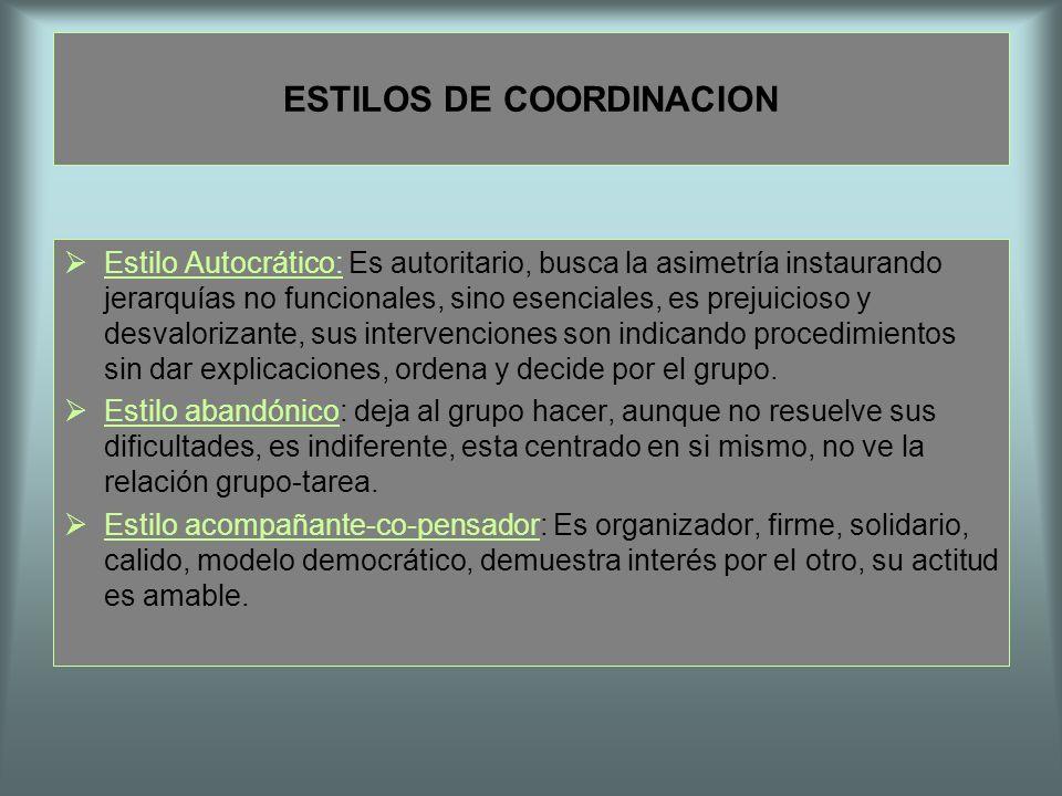 ESTILOS DE COORDINACION Estilo Autocrático: Es autoritario, busca la asimetría instaurando jerarquías no funcionales, sino esenciales, es prejuicioso