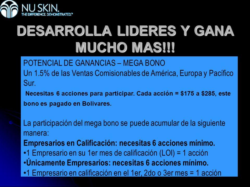 DESARROLLA LIDERES Y GANA MUCHO MAS!!! POTENCIAL DE GANANCIAS – MEGA BONO Un 1.5% de las Ventas Comisionables de América, Europa y Pacífico Sur. Neces