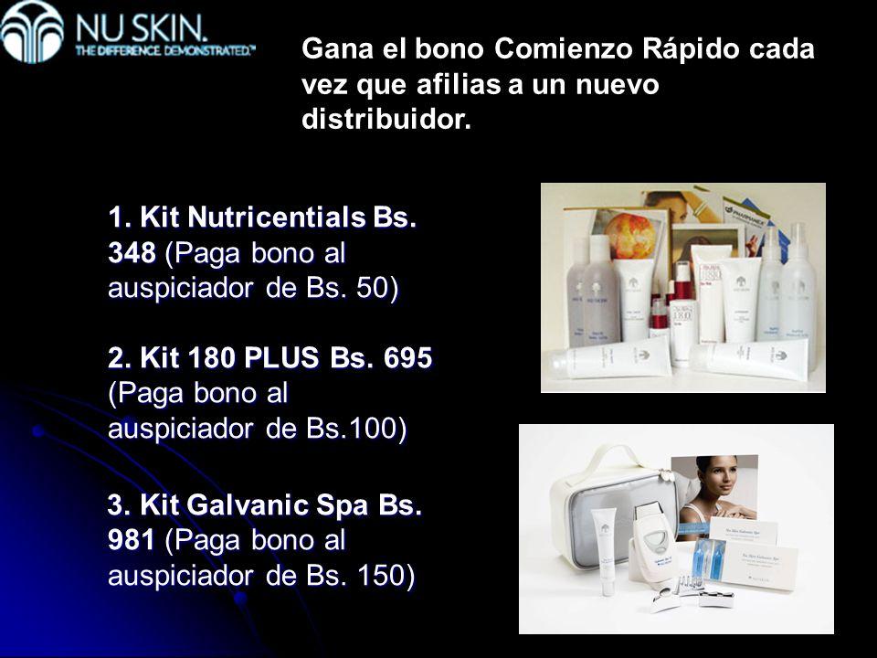 1. Kit Nutricentials Bs. 348 (Paga bono al auspiciador de Bs. 50) 2. Kit 180 PLUS Bs. 695 (Paga bono al auspiciador de Bs.100) 3. Kit Galvanic Spa Bs.
