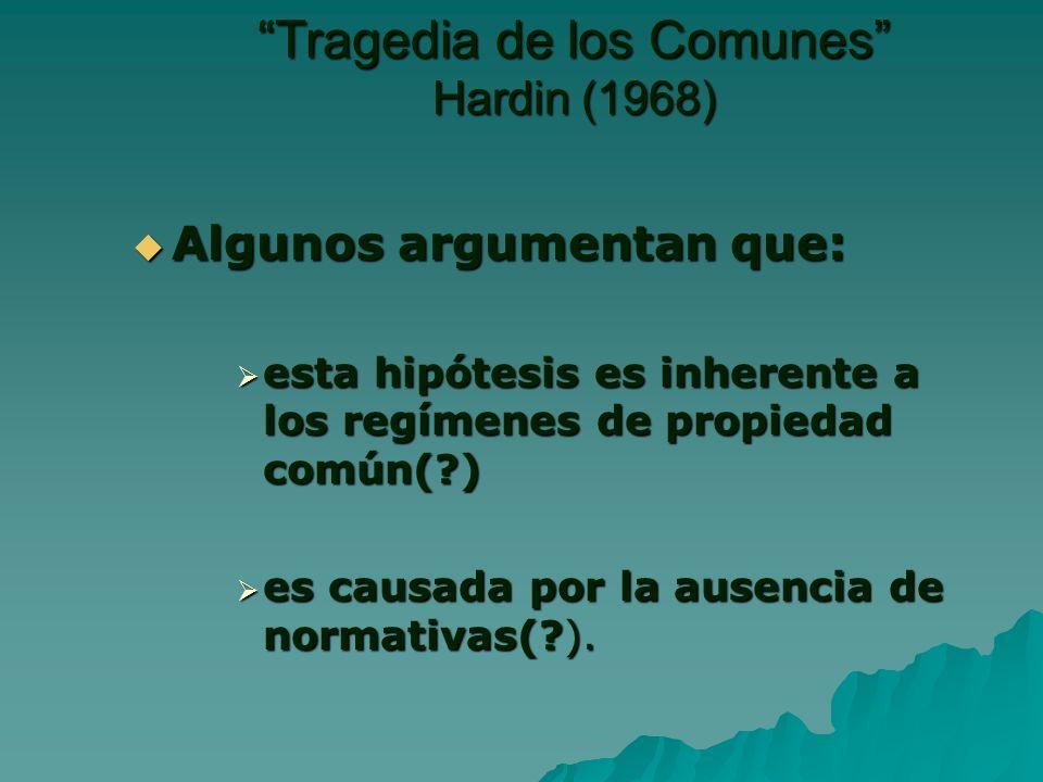 Algunos argumentan que: Algunos argumentan que: esta hipótesis es inherente a los regímenes de propiedad común(?) esta hipótesis es inherente a los regímenes de propiedad común(?) es causada por la ausencia de normativas(?).