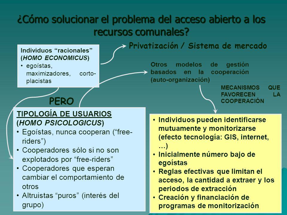 ¿Cómo solucionar el problema del acceso abierto a los recursos comunales.
