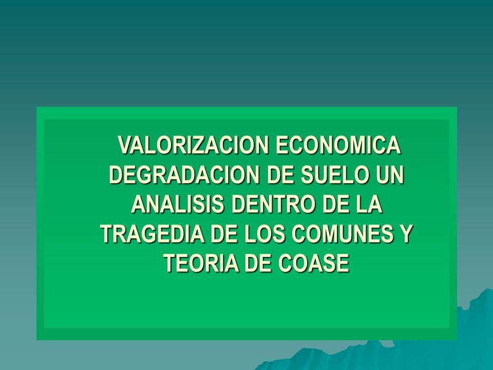 VALORIZACION ECONOMICA DEGRADACION DE SUELO UN ANALISIS DENTRO DE LA TRAGEDIA DE LOS COMUNES Y TEORIA DE COASE VALORIZACION ECONOMICA DEGRADACION DE SUELO UN ANALISIS DENTRO DE LA TRAGEDIA DE LOS COMUNES Y TEORIA DE COASE