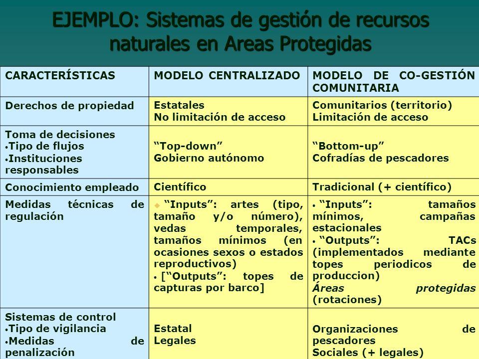 EJEMPLO: Sistemas de gestión de recursos naturales en Areas Protegidas CARACTERÍSTICASMODELO CENTRALIZADOMODELO DE CO-GESTIÓN COMUNITARIA Derechos de propiedadEstatales No limitación de acceso Comunitarios (territorio) Limitación de acceso Toma de decisiones Tipo de flujos Instituciones responsables Top-down Gobierno autónomo Bottom-up Cofradías de pescadores Conocimiento empleadoCientíficoTradicional (+ científico) Medidas técnicas de regulación Inputs: artes (tipo, tamaño y/o número), vedas temporales, tamaños mínimos (en ocasiones sexos o estados reproductivos) [Outputs: topes de capturas por barco] Inputs: tamaños mínimos, campañas estacionales Outputs: TACs (implementados mediante topes periodicos de produccion) Áreas protegidas (rotaciones) Sistemas de control Tipo de vigilancia Medidas de penalización Estatal Legales Organizaciones de pescadores Sociales (+ legales)