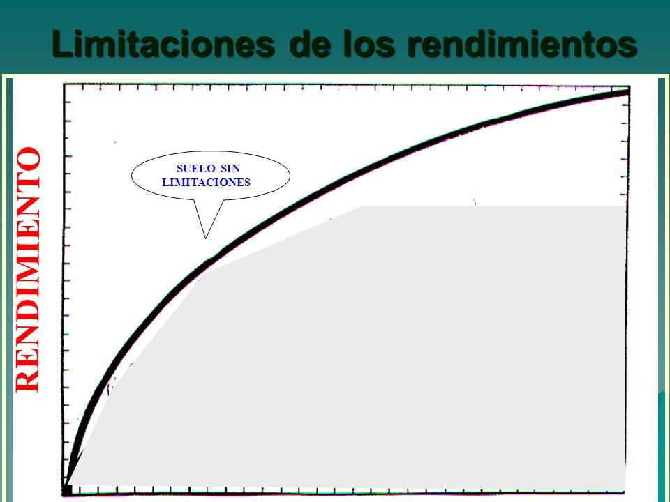 Limitaciones de los rendimientos AGUA MALEZAS ENFERMEDADES INSECTOS DEGRADACION QUIMICA DEGRADACION FISICA EROSION DE SER TI FI CA CION SUELO SIN LIMITACIONES RENDIMIENTO