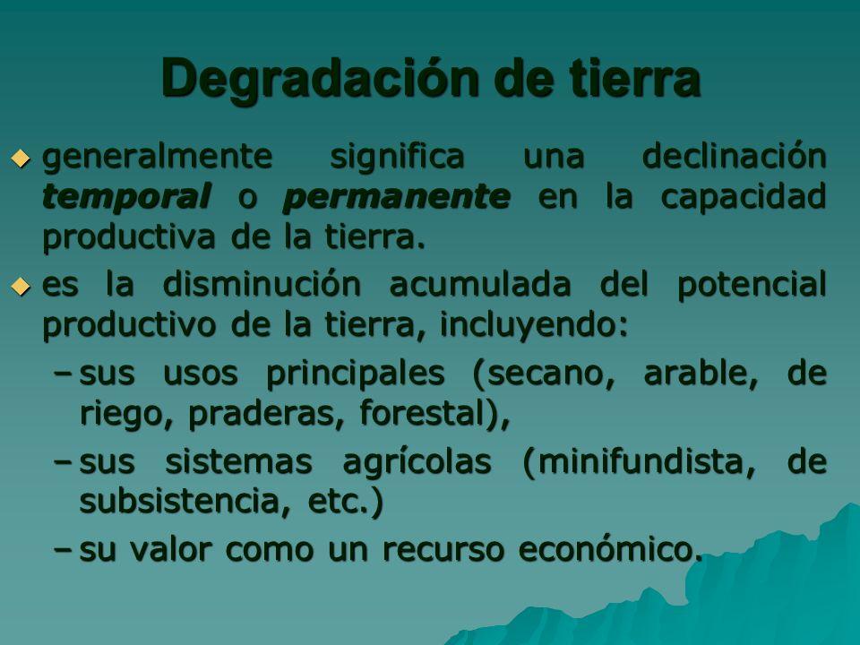 Degradación de tierra generalmente significa una declinación temporal o permanente en la capacidad productiva de la tierra.