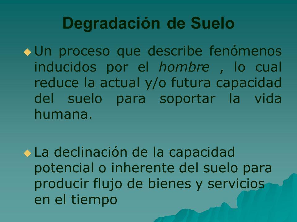Degradación de Suelo Un proceso que describe fenómenos inducidos por el hombre, lo cual reduce la actual y/o futura capacidad del suelo para soportar la vida humana.