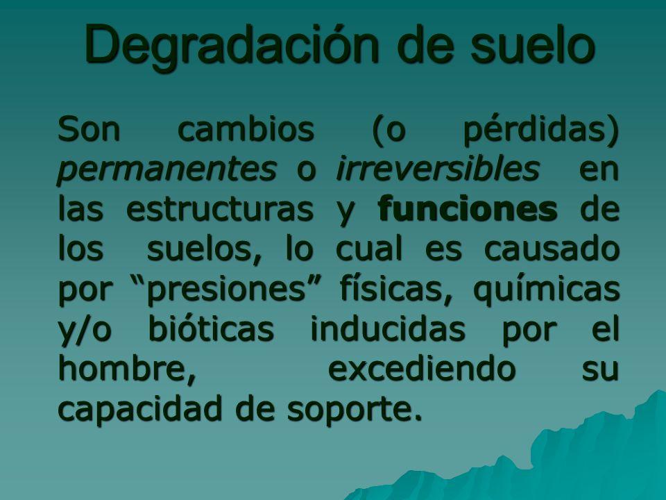 Degradación de suelo Son cambios (o pérdidas) permanentes o irreversibles en las estructuras y funciones de los suelos, lo cual es causado por presiones físicas, químicas y/o bióticas inducidas por el hombre, excediendo su capacidad de soporte.