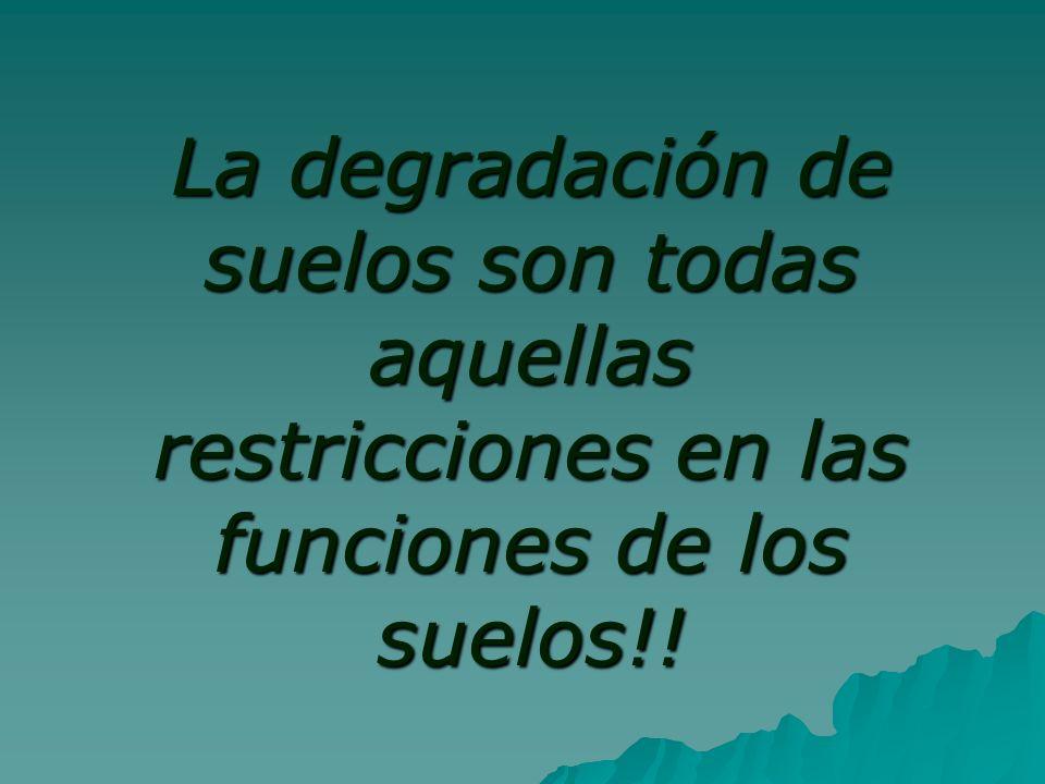 La degradación de suelos son todas aquellas restricciones en las funciones de los suelos!!