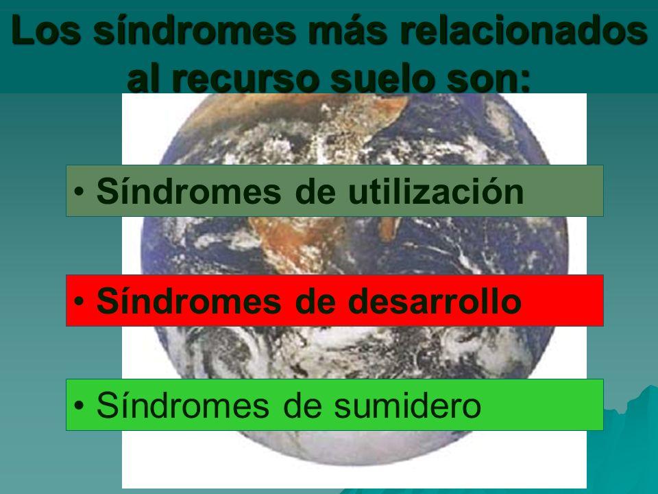Los síndromes más relacionados al recurso suelo son: Síndromes de utilización Síndromes de desarrollo Síndromes de sumidero