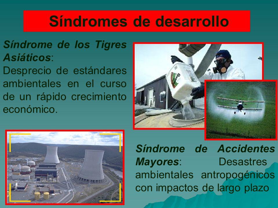 Síndromes de desarrollo Síndrome de los Tigres Asiáticos: Desprecio de estándares ambientales en el curso de un rápido crecimiento económico.