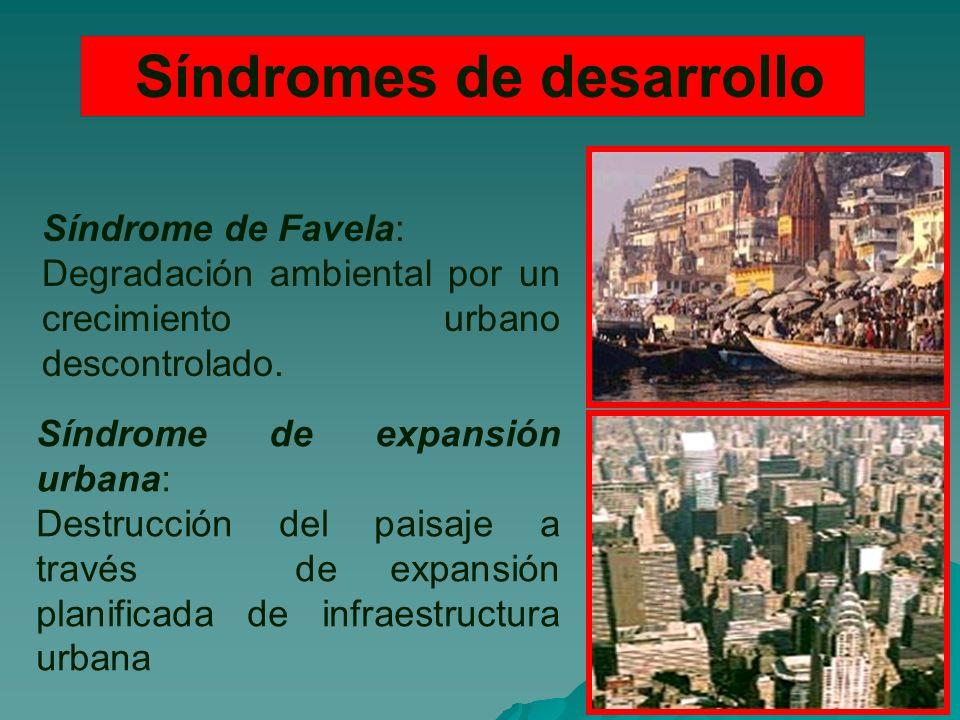 Síndromes de desarrollo Síndrome de Favela: Degradación ambiental por un crecimiento urbano descontrolado.