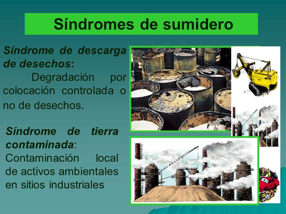 Síndromes de sumidero Síndrome de descarga de desechos: Degradación por colocación controlada o no de desechos.