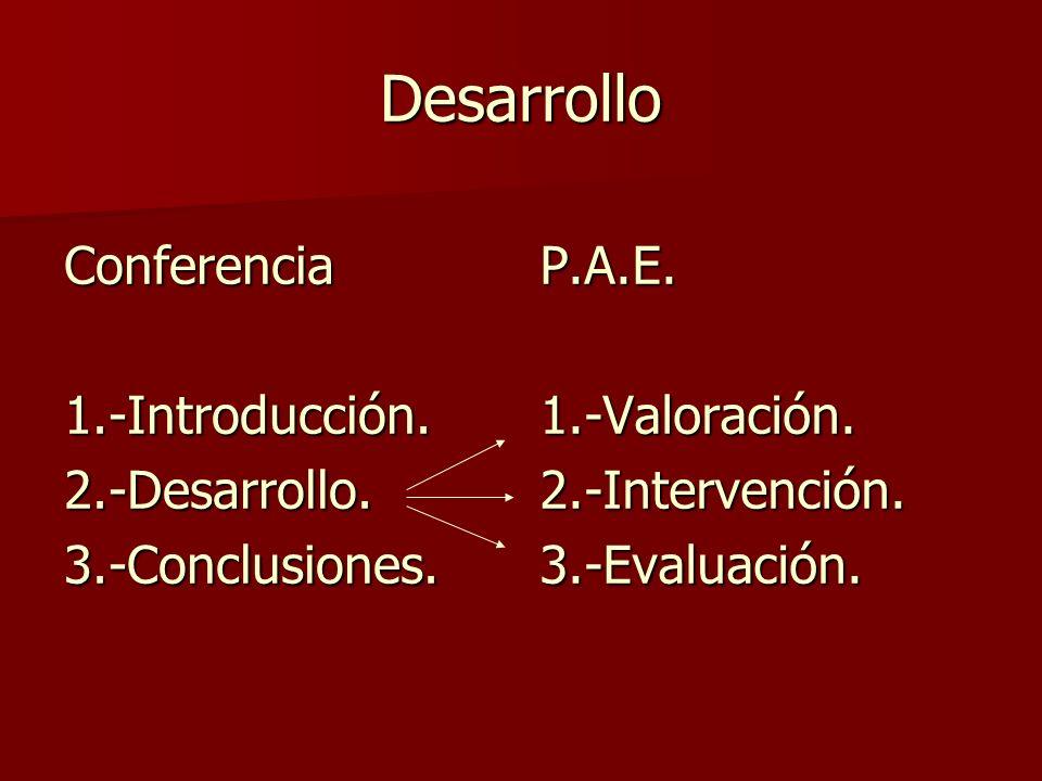Desarrollo Conferencia1.-Introducción.2.-Desarrollo.3.-Conclusiones.P.A.E.1.-Valoración.2.-Intervención.3.-Evaluación.