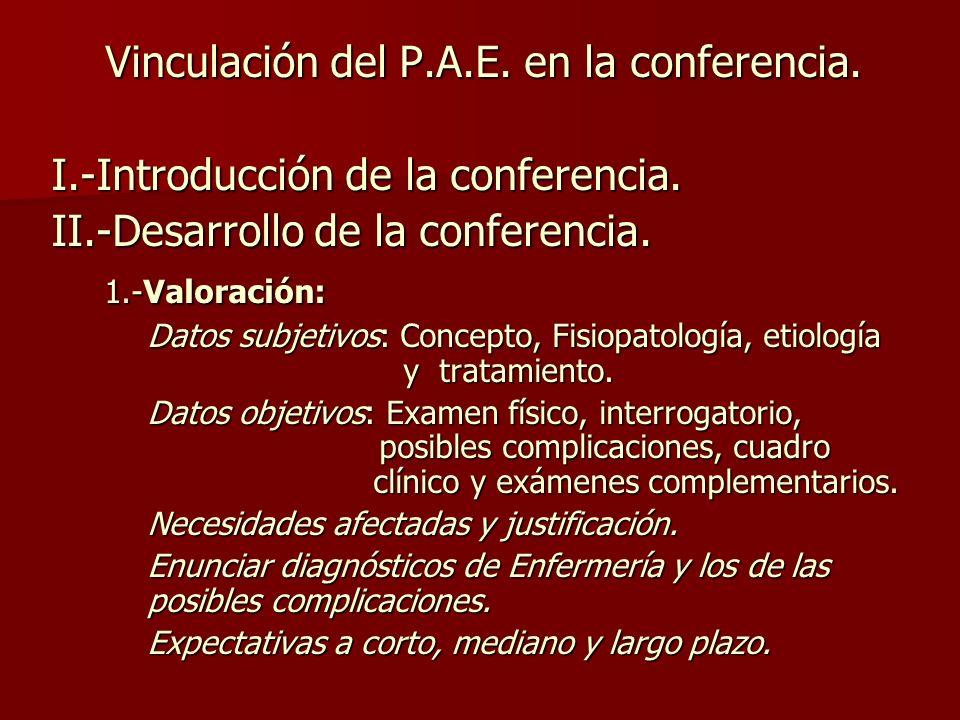 Vinculación del P.A.E.en la conferencia. I.-Introducción de la conferencia.