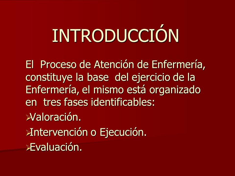 INTRODUCCIÓN El Proceso de Atención de Enfermería, constituye la base del ejercicio de la Enfermería, el mismo está organizado en tres fases identificables: Valoración.