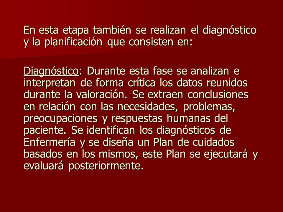En esta etapa también se realizan el diagnóstico y la planificación que consisten en: En esta etapa también se realizan el diagnóstico y la planificación que consisten en: Diagnóstico: Durante esta fase se analizan e interpretan de forma crítica los datos reunidos durante la valoración.