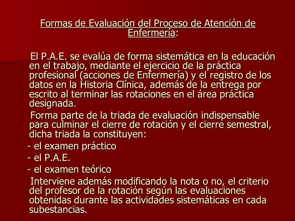 Formas de Evaluación del Proceso de Atención de Enfermería: El P.A.E.