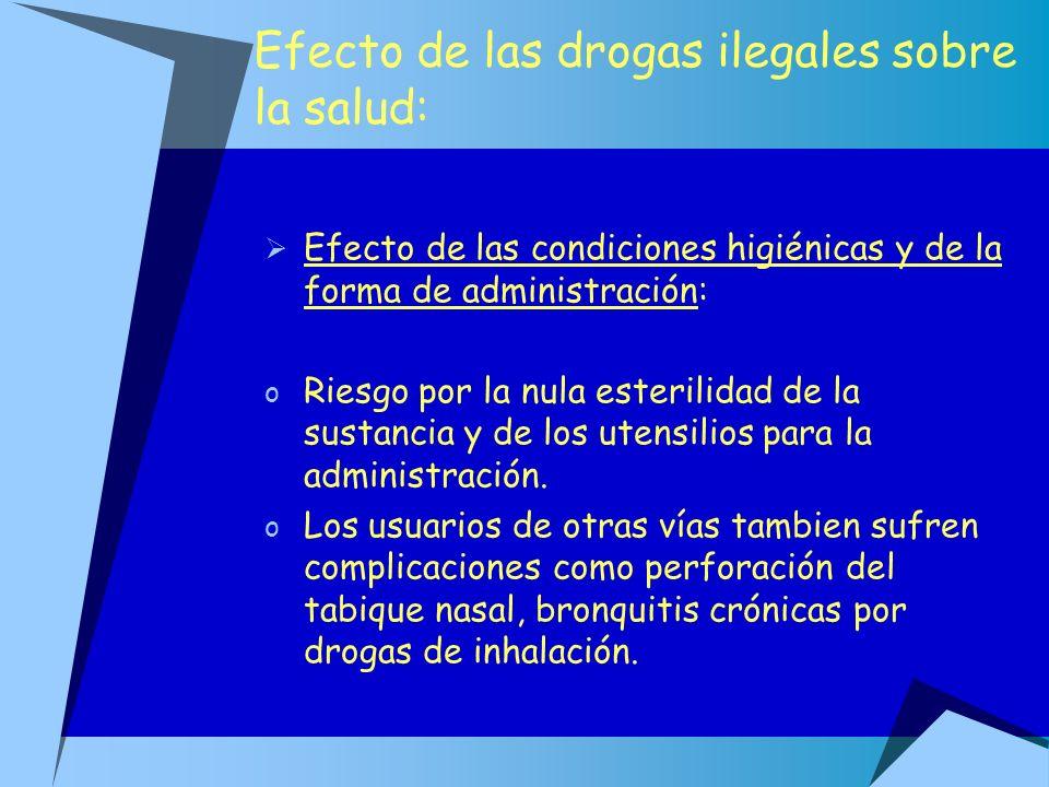 Efecto de las drogas ilegales sobre la salud: Efecto de las condiciones higiénicas y de la forma de administración: o Riesgo por la nula esterilidad d