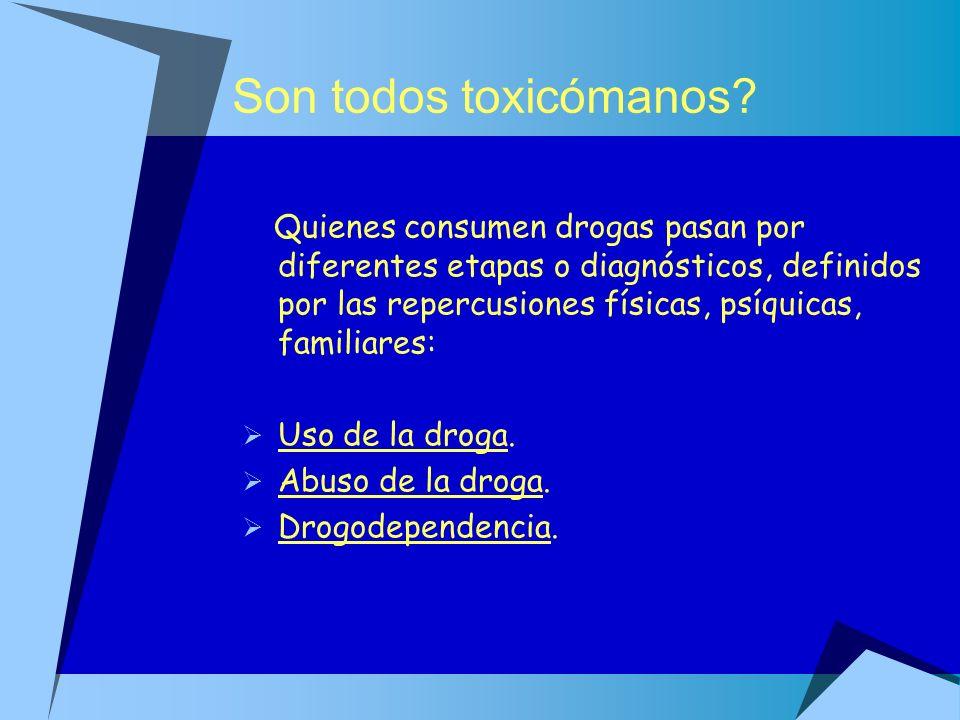 Son todos toxicómanos? Quienes consumen drogas pasan por diferentes etapas o diagnósticos, definidos por las repercusiones físicas, psíquicas, familia
