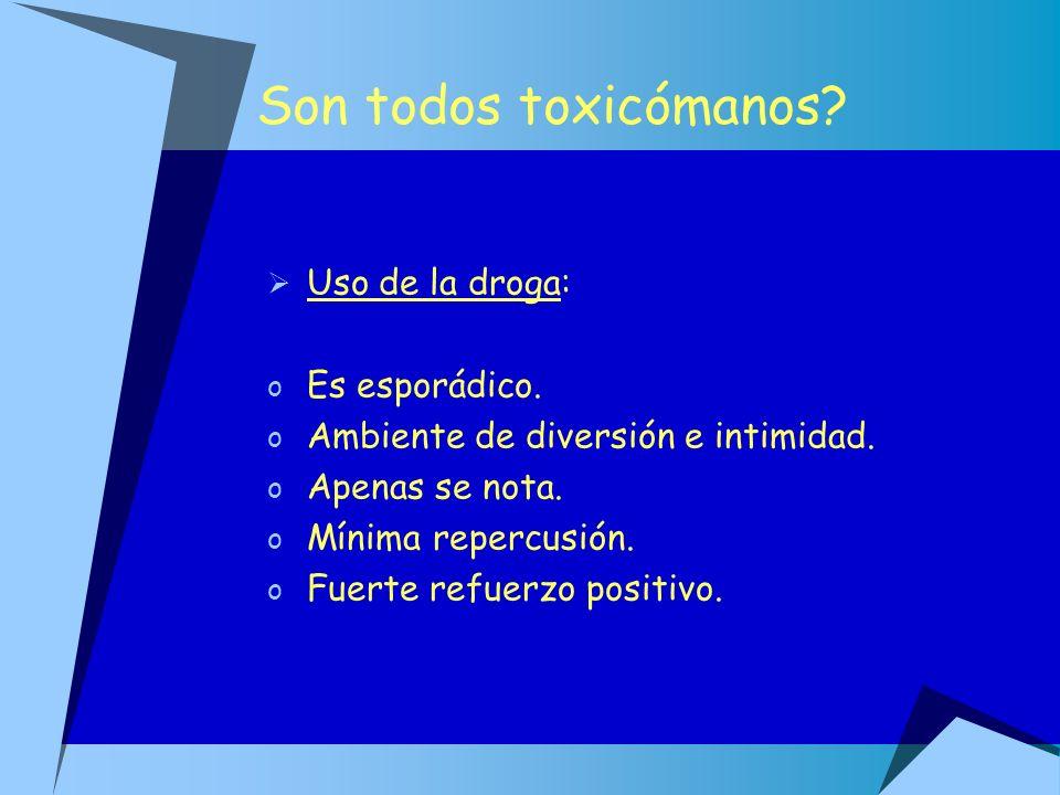Son todos toxicómanos? Uso de la droga: o Es esporádico. o Ambiente de diversión e intimidad. o Apenas se nota. o Mínima repercusión. o Fuerte refuerz