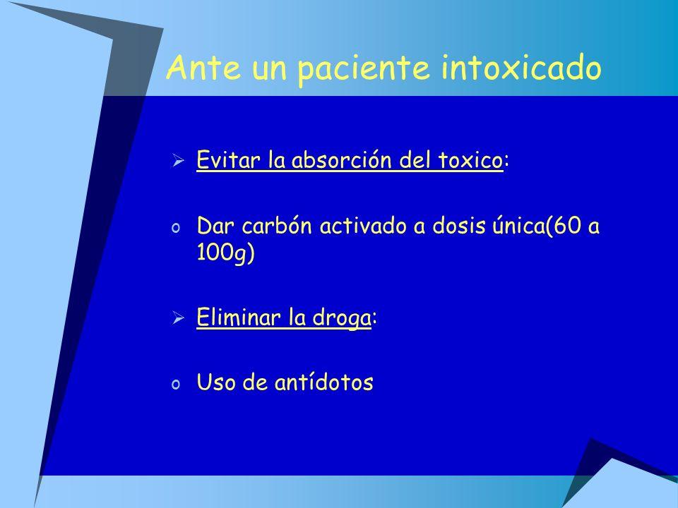 Ante un paciente intoxicado Evitar la absorción del toxico: o Dar carbón activado a dosis única(60 a 100g) Eliminar la droga: o Uso de antídotos