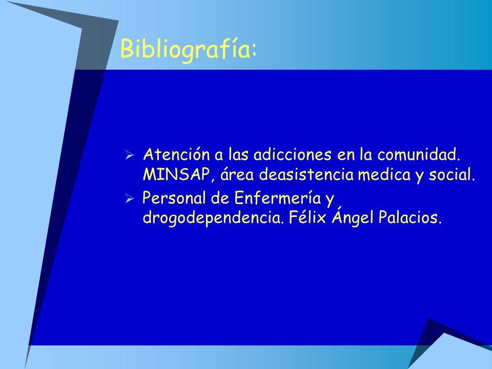 Bibliografía: Atención a las adicciones en la comunidad. MINSAP, área deasistencia medica y social. Personal de Enfermería y drogodependencia. Félix Á