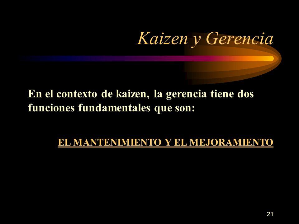 21 Kaizen y Gerencia En el contexto de kaizen, la gerencia tiene dos funciones fundamentales que son: EL MANTENIMIENTO Y EL MEJORAMIENTO