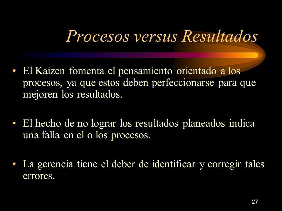 27 Procesos versus Resultados El Kaizen fomenta el pensamiento orientado a los procesos, ya que estos deben perfeccionarse para que mejoren los result