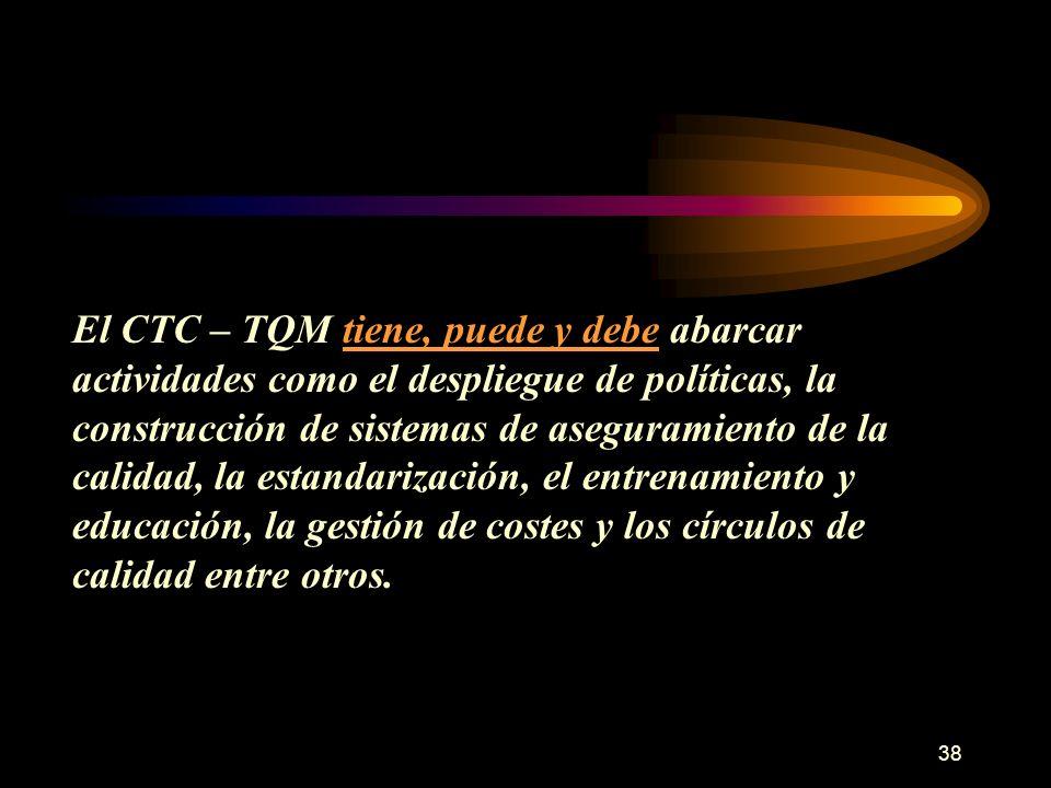 38 El CTC – TQM tiene, puede y debe abarcar actividades como el despliegue de políticas, la construcción de sistemas de aseguramiento de la calidad, l
